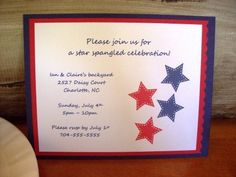 July 4th Birthday bbq picnic summer Star Party Invitations - Set of 8 on Etsy, $12.00