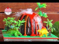 Make a Smoking Volcano Cake - Dinosaur. Hawaiian Party - A Cupcake Addiction How To Tutorial, My