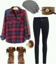 Cute flannel outfits how to wear black skinny jeans inspiring outfit ideas for school . cute flannel outfits statement for school . Cute Flannel Outfits, Plaid Flannel, Blue Plaid, Plaid Outfits, Dress Outfits, Cute Camping Outfits, Flannel Friday, Party Outfits, Fashion Clothes