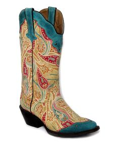 Look at this Natural & Turquoise Paisley Wing-Tip Leather Cowboy Boot - Women on #zulily today!