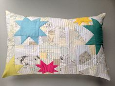 Scrappy star pillow by Wise Craft Handmade.