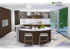 Hemisphere kitchen by SIMcredible! (Sims 4) • Counter• Dishwasher• 2 Jars• Chair• Fridge• Rounded Table + Stove• 2Jugs• Sink• StoveHood• WallTools• Tray• OliveOil• 2WallCabinets•...