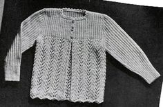 Baby Sacque knit patterns from Spinnerin Hand Knits for Youngsters, originally published 1944.