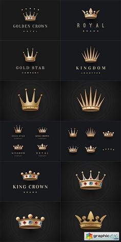 Set of royal gold crowns icons and logos. Isolated luxury logo for branding - stock images - Free Graphics, Free WordPress Themes & Scripts app Small Crown Tattoo, Crown Tattoo Design, Royal Logo, Crown Art, Shark Logo, Crown Logo, Bild Tattoos, Luxury Logo, Gold Crown