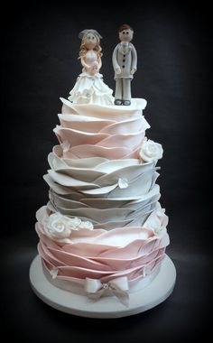Pink & Grey Ombre Ruffle Wrap Wedding Cake! - by Chocomoo @ CakesDecor.com - cake decorating website