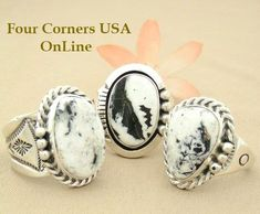 Men's White Buffalo Turquoise Rings | Four Corners USA OnLine Native American Indian Jewelry http://stores.fourcornersusaonline.com/sacred-white-buffalo-rings/