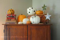 "Serenity Now: Fall Pumpkin Decor on My ""Mantel"""