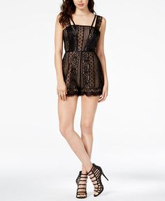 ae5a316d GUESS Eliza Lace Romper Junior Rompers, Black Lace Romper, Jumpsuits For  Women, Night