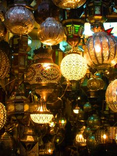 Moroccan lanterns in the marketplace.