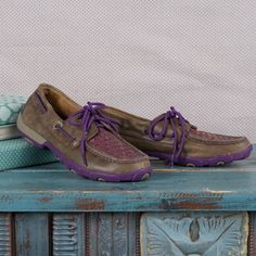 - Genuine leather construction - Bomber brown with purple check pattern and laces - 50k super slab rubber outsole - Moisture-wicking SD footbed - XSD one-piece insole - EVA midsole - Slip-on style - M
