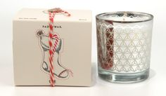 Clover and vanilla bean Holiday candle // packaging with punch-out stocking tag // Paddywax