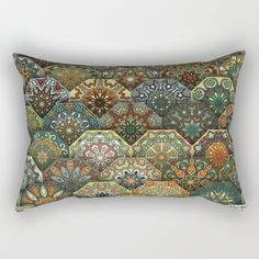Vintage patchwork with floral mandala elements Rectangular Pillow