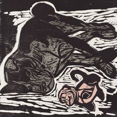 """Dog with Monkey Toy,  16"""" x 16"""" color woodcut by Kent Ambler"""