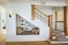 Build an under the stairs nook, fit a twin size mattress and guests can sleep there in a pinch
