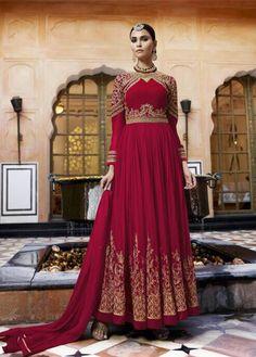 Buy Anarkali Suits and designer Anarkali Salwar Kameez at a great price. For largest collection of Anarkali Suit designs at parisworld. Floor Length Anarkali, Long Anarkali, Anarkali Dress, Lehenga Choli, Lehenga Suit, Red Lehenga, Abaya Fashion, Indian Fashion, Fashion Dresses