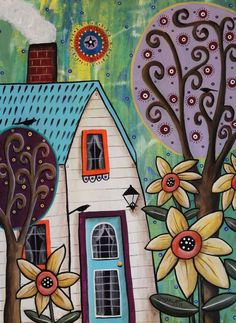 Yellow Blooms 12x16 ORIGINAL CANVAS PAINTING house birds FOLK ART Karla Gerard #FolkArtAbstractPrimitive