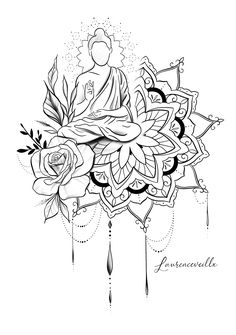 This Unique Buddha Oriental Mandala Rose Tattoo Design is. Best Picture For mini Mandala Tattoo Fo Buddha Tattoo Design, Buddha Tattoos, Mandala Tattoo Design, Rose Mandala Tattoo, Tattoo Design Drawings, Design Tattoo, Tattoo Sleeve Designs, Tattoo Sketches, Tattoo Designs Men
