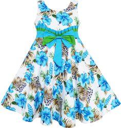 Mädchen Kleid Groß Mädchen Blau Gefieder Gefaltet Bogen Binden: Amazon.de: Bekleidung