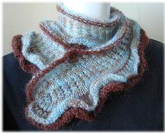 Kid Merino Ruffled Scarflette Neck Wrap - 2 balls - free knit lacy neck wrap scarf pattern - Crystal Palace Yarns