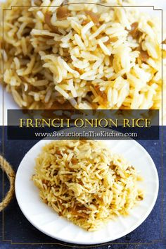 Rice French Onion Rice is an easy rice dish you can make with and is full of wonderful flavor. A recipe from via Onion Rice is an easy rice dish you can make with and is full of wonderful flavor. A recipe from via Rice Side Dishes, Food Dishes, Vegetarian Recipes, Cooking Recipes, Healthy Recipes, Easy Rice Recipes, Vegetable Recipes, Healthy Meals, Veggie Food