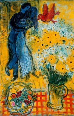"Les Amoureux - Marc Chagall. When Matisse dies. Pablo Picasso remarked, ""Chagall will be the only painter left who understands what color really is""."