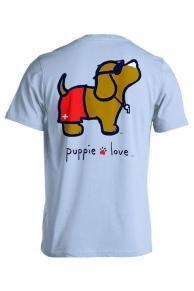 Puppie Love Brand Lifeguard Pup Cotton Light Blue Short Sleeve T Shirt