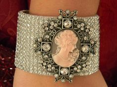 Cameo Bracelet Rhinestone Cuff by StepOriginals on Etsy, $35.00