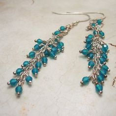 Crystal Earrings.Sterling Silver and Carribean Blue Swarovski Crystal Beaded Jewelry 'Blue Lagoon'