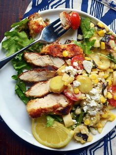 Pan-Fried Chicken Breasts with Corn & Tomato Summer Salad