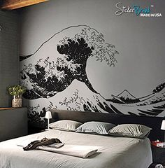 "Stickerbrand© Asian Décor Vinyl Wall Art Japanese Hokusai Great Wave Wall Decal Sticker - Black, 65"" x 104"". Easy to Apply & Removable. Includes FREE Application Squeegee Stickerbrand http://www.amazon.com/dp/B003WY0VG4/ref=cm_sw_r_pi_dp_C3hEwb035FMEB"