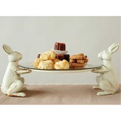 Cast Iron Rabbit Plate Holder w/ Glass Plate, Antique White, Set of 2 Dimensions (Overall): inches (H) x inches (W) x inches (D) Placement: Tabletop Material: Iron Weight: pounds Antique Farmhouse, Farmhouse Decor, Plate Holder, Easter Brunch, Serving Plates, Easter Crafts, Diy Home Decor, Diy And Crafts, Creations