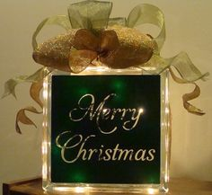 vinyl for glass blocks | Vinyl on lighted glass block | Christmas Crafts