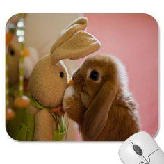 "Bunny Kissing ""Stuffed Toy Bunny"" Mousepad"