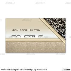 Professional elegant chic leopard print shiny look Double-Sided standard business cards (Pack of 100)