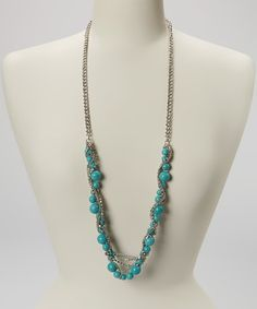 Another great find on #zulily! Turquoise & Silver Stone Chain Necklace #zulilyfinds