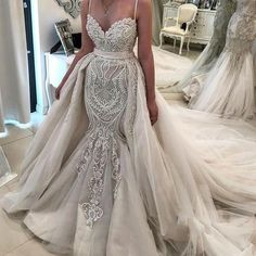 Mermaid Wedding Dress with Detachable Skirt New 2019 New Luxury Mermaid Wedding Dresses Spaghetti Straps Appliques Sleeveless Tulle Skirts Detachable Train Plus Size formal Bridal Gowns Mermaid<br> Western Wedding Dresses, Wedding Dress Patterns, Lace Mermaid Wedding Dress, Gorgeous Wedding Dress, Wedding Dresses Plus Size, Mermaid Dresses, Dream Wedding Dresses, Wedding Attire, Bridal Dresses