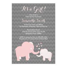 #babyshowerinvitations #boysbabyshower #girlsbabyshower #watercolor #cutebabyshowerElephant Baby Shower Invitation Pink and Grey