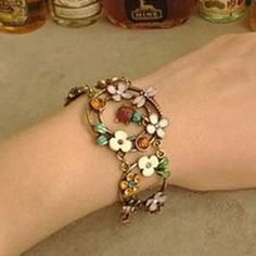 Rustic Vintage Oil Crystal Small Ladybug Dragonfly Pendant Bracelet