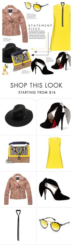 """The Buzz"" by lisalockhart ❤ liked on Polyvore featuring WithChic, Christian Louboutin, Fendi, Alice + Olivia, Marc New York, Ann Demeulemeester, Krewe, Marc Jacobs, leatherjacket and minibags"