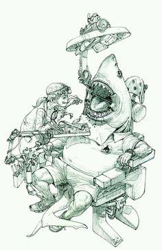 illustration by Kim Jung Gi Sketch Manga, Drawing Sketches, Drawings, Comic Drawing, Sketch Art, Comic Kunst, Comic Art, Illustrations, Illustration Art