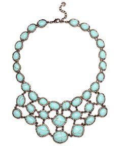 Monet Necklace, Bronze Tone Turquoise