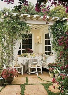 cozy and comfy outdoor dining area with pergola - bhg Outdoor Rooms, Outdoor Dining, Outdoor Gardens, Outdoor Decor, Outdoor Seating, Outdoor Fabric, Patio Dining, Outdoor Ideas, Outdoor Lounge