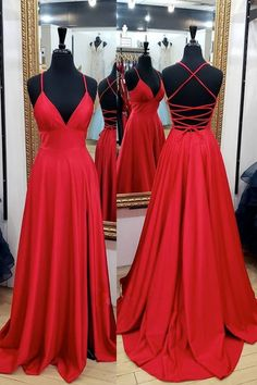 V Neck Red Backless Long Prom Dresses, Open Back Red Long Formal Evening Dresses A Line Prom Dresses, Grad Dresses, Formal Evening Dresses, Homecoming Dresses, Evening Gowns, Red Ball Dresses, Long Red Dresses, Simple Evening Gown, Simple Formal Dresses