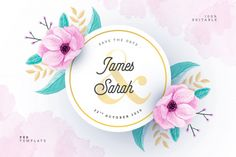 Watercolor wedding card with floral frame Free Psd | Free Psd #Freepik #psd #freeflower #freeframe #freewedding #freewatercolor