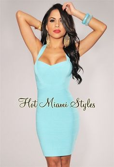 Aqua Banded Strap Accent Silky Bandage Dress $64.99