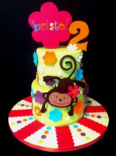 Children's Birthday Cakes - Made for a friend's little girl's 2nd birthday. All decorations made from fondant and gumpaste. Designed from the invitation. TFL!