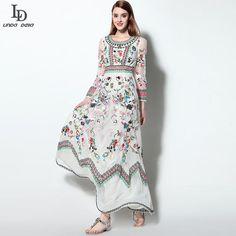 Women's Long sleeve Gauze Retro Noble Floral Embroidery Long Dress