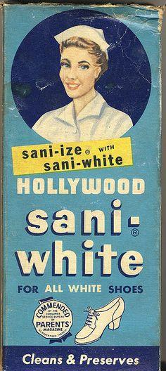 Vintage Box for Hollywood Sani- White Shoe Polish... those were the days when nurses wore all white!