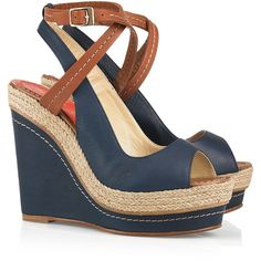 Paloma Barceló Velati leather wedge sandals ($125) ❤ liked on Polyvore featuring shoes, sandals, wedges, heels, zapatos, platform wedge sandals, leather wedge sandals, high heel platform sandals, wedge sandals and navy blue sandals