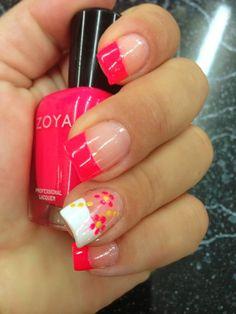 Cute summer manicure bright nail designs, nail tip designs, fingernail desi Bright Nail Designs, Nail Tip Designs, Fingernail Designs, Art Designs, Pedicure Designs, Pretty Designs, Flower Designs, Design Ideas, Fancy Nails